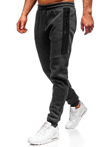BOLF Herren Sporthose Trainingshose Jogginghose Fitnesshose Freizeithose Joggerhose Sport Style Must JX8970 Dunkelgrau L [6F6]