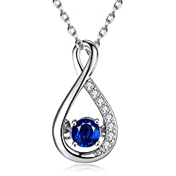 Sterling silver created blue sapphire pendant with chain