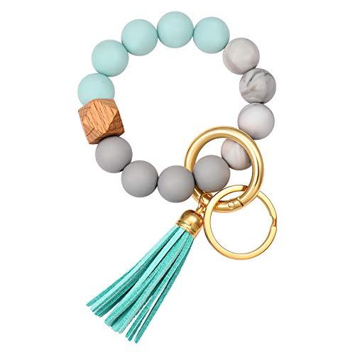 Boderier Silicone Bracelet Keychain Key Ring Elastic Silicone Bead Wristlet Keychain Bracelet Bangle Portable House Car Keys Ring Holder W/ Tassel (Lake Blue)