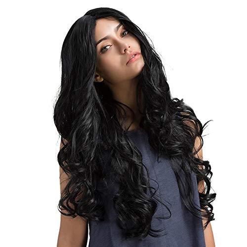 KeKeandYaoYao Vrouwen Zwart Lange Krullend Golvend Haar Pruik Kant Cap Gesimuleerde Hoofdhuid Elastische Haarstukje 18007229 Black