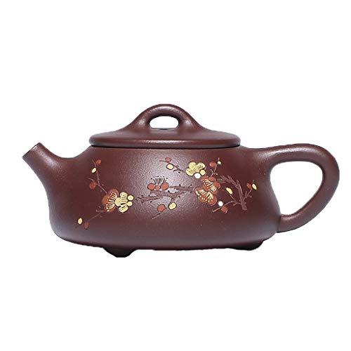 ROEWP Teteras teapot Teteras de Arcilla púrpura de Yixing China Hecha a Mano Zisha Oriental Arcilla púrpura Xishi Tetera con Relieve Flor Gres Tetera por los hogares, 6,8 oz / 200cc con infusor