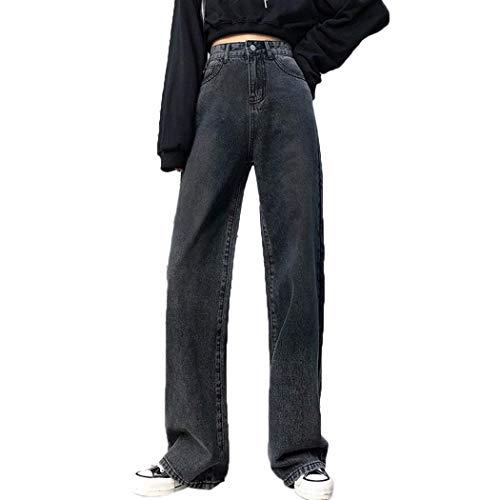 Teaio Damen Palazzo Jeans Hose High Wasit Jeanshose Boyfriend Hose Weites Bein Hellblau Elegant
