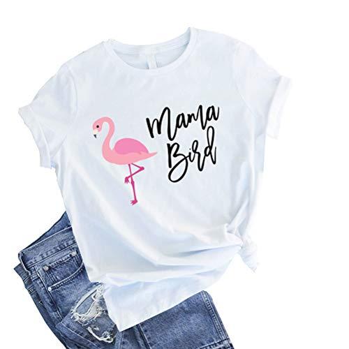 fpengfashion Mama Bird Grappig T-shirt dames korte mouwen flamingo grafisch thee blouse zomer tops