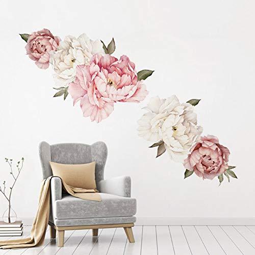 Aquarel roze witte pioenroos bloemen muursticker voor kinderkamer woonkamer slaapkamer wooncultuur wandtattoo wooncultuur