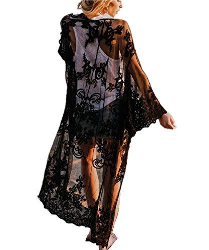 L-Peach Damen Spitze Blumen Langes Kleid Strandkleid Pareo Kimono Cover ups One Size