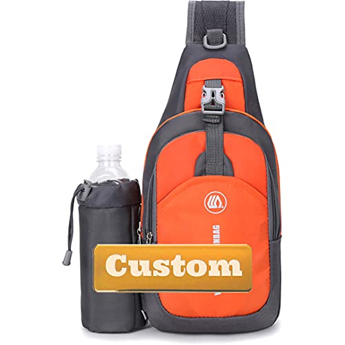 Personalizado Custom Name Sling Hombre Hombro Bolsa de viaje Sling Bag con usb Ultralight (Color : Orange, Size : One size)