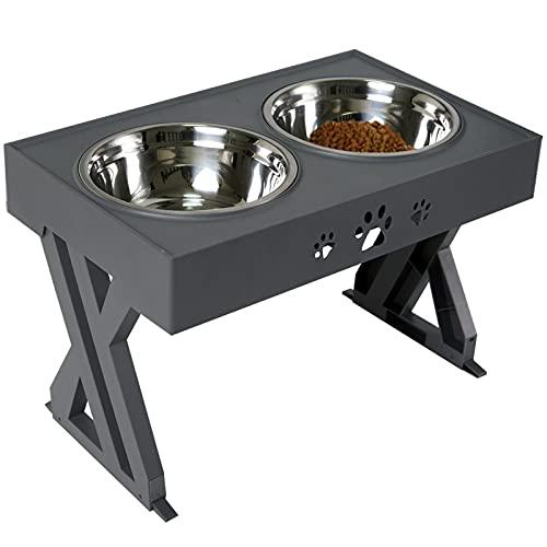 Wisedog Erhöhte Hundenapf für große Hunde Erhöhter Hundenapf - passt Sich an 3 Höhen an, 2,8', 7,5', & 11,6'' Ständer (Grau)