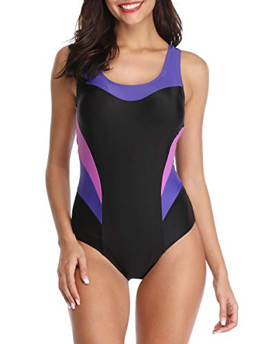 American Trends Women's One Piece Swimsuits for Women Bathing Suits Athletic Training Womens Swimsuits Swimwear Racerback Pure Purple Swimsuits 2X-Large (fits Like US 14-16)