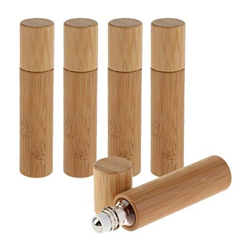 POFET 5 pcs 10 ML Naturel Bambou Rechargeable Vide Huile Essentielle Cosmétique Liquides Rouler sur Bouteille Maison Voyage Salon