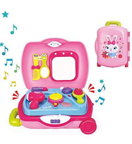 Zooawa Schminkset Frisierkoffer Spielzeug, Schminkkoffer Kosmetik Prinzessin Rollenspiel Spielzeug mit Leicht Tragbar Trolley Koffer, Kinder Mädchen über 3 Jahren - Rosa