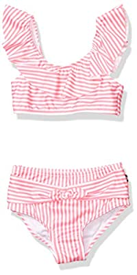 Nautica Girls Bikini Swim Suit with UPF 50+ Sun Protection, Ruffle Neon Pink, 4