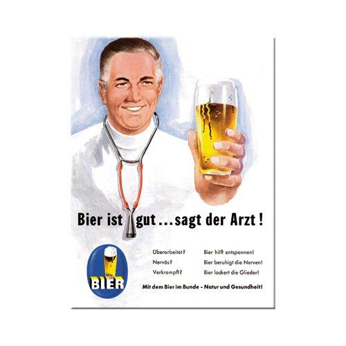 Nostalgic-Art 14114 Open Bar - Bier ist gut... sagt der Arzt, Magnet 8x6 cm