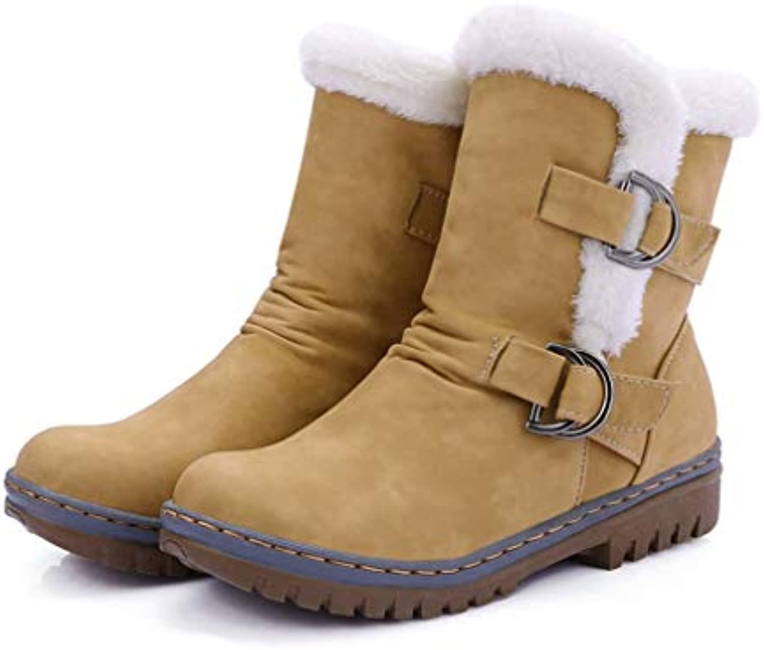 T-JULY Women's Ankle Boots Winter Fur Snow shoes Female Fashion Winter Buckle Warm Non-Slip Boots