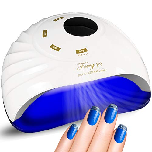 Feecy Nail Dryer With Fan Nail Polish Dryer Fan with Sensor Timer LED Display, 90W 45 Beads, UV Light Gel Nail LED Lamp Professional Nail Polish Lamp Dryer