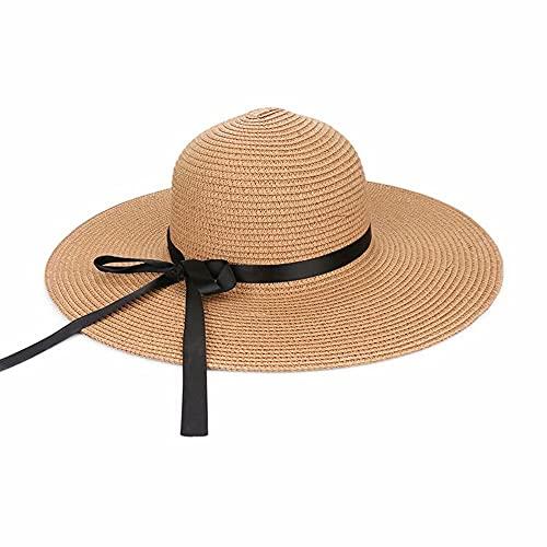 YRONG Sombrero de sol de ala ancha plegable cinta de viaje protector solar verano playa al aire libre floppy paja sombrero