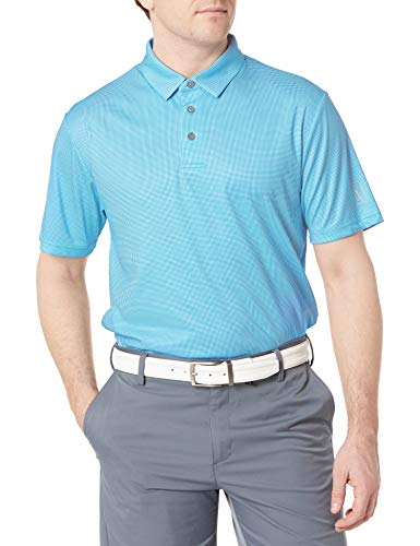 PGA TOUR Herren Mini Gingham Print Short Sleeve Polo Golf-T-Shirt, Blaue Donau, Klein