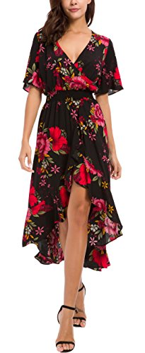 Kormei Womens Short Sleeve Floral High Low V-Neck Flowy Party Long Maxi Dress L Black&Red