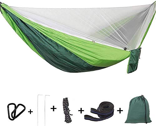 2 in 1 Outdoor Camping Hammock with Mosquito Net Strong Nylon Portable Lightweight Parachute Hammock for Backpacking Camping Hiking Travel Yard