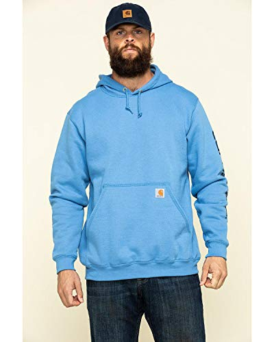 Visit the Carhartt Store Midweight Sleeve Logo Hooded Sweatshirt (Regular and Big & Tall Sizes) T-Shirt d'utilité Professionnelle, Bleu (French Blue), L Homme