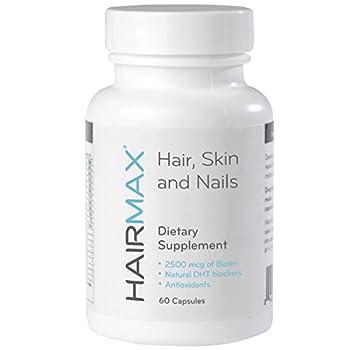HairMax for Hair Skin and Nails Dietary Supplement for Women & Men Promotes hair skin & nail health Contains 2500mcg Biotin Niacin Folic Acid Hyaluronic Acid DHT Blockers MSM & Antioxidants.