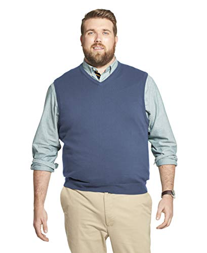 IZOD Men's Big & Tall Big Premium Essentials Solid V-Neck 12 Gauge Sweater Vest, Federal Blue, 4X-Large Tall