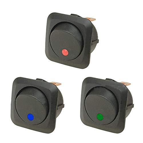 E Support&Trade; 3 X 12V 25A Auto KFZ Schalter EIN/AUS Wippenschalter LED Beleuchtet Schalter Blau Rot Grün 25mm