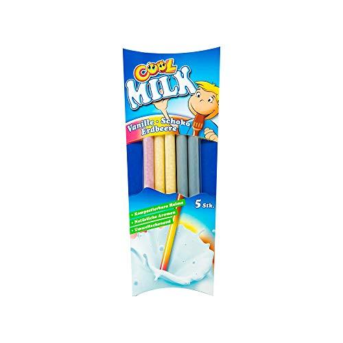 Cool Milk ÖKO Trinkhalme zum Kakaomachen - 3fach sortiert | Schoko, Vanille, Erdbeere , 10 Packungen mit je 5 kompostierbaren Trinkstrohhalmen (1 Tray x 300 g)
