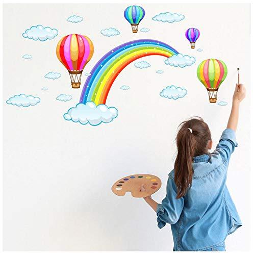 MINGKK - Pegatinas de pared con diseño de globo de aire caliente de arcoíris y nubes de arcoíris