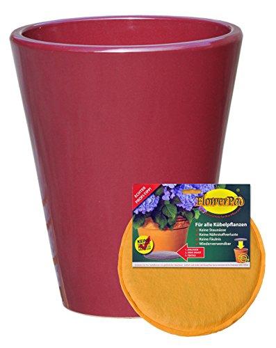 Hentschke Keramik Spar Set: Pflanzkübel + FlowerPad Ø 30 x 36 cm, Rubinrot, 008.036.12 Blumenkübel für Draußen + Innen - Made in Germany