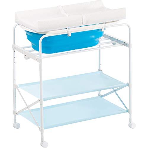 JINYANG JY Table à Langer, Table d'allaitement, Table d'opération pour bébé, Table de Bain, Table Tactile, Pliable, Bleu, système de Drainage