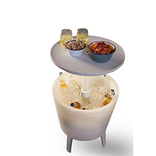 Koll-Living Kühlbox & Bistrotisch mit integriertem LED-Licht, Stehtisch mit Eisbehälter, höhenverstellbar bis 85 cm mit einfachem Teleskopmechanismus - 2