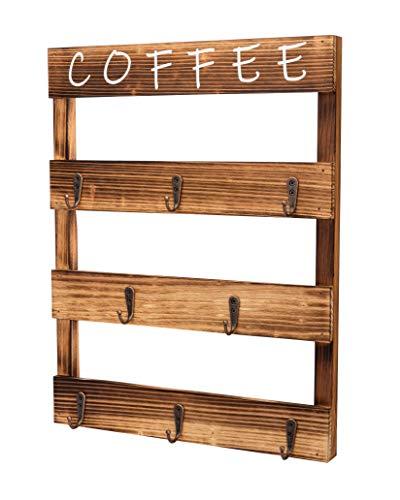 Coffee Mug Holder Wall Mounted Rustic Kitchen Wood Coffee Cup Holder for Coffee Bar or Station Coffee Mug Rack