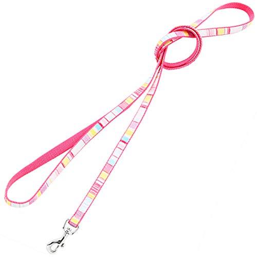 ラロック 犬 リード 超小型犬 カラフルボーダーリード SSサイズ 色:ピンク 超小型犬用リード