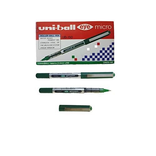 Uni-Ball Eye UB-150, penna a sfera con punta micro da 0,5 mm, colore: verde, confezione da 12 pezzi