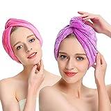 AuroTrends Magic Dry Hair Towel Turban Large Hair Wrap Hair Cap 2 Pack- Ultra Absorbent Drastically Reduce Hair Drying Time(2 Pack Peachblow & Purple)