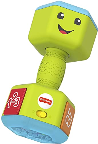 Fisher-Price Laugh & Learn Countin' Reps Dumbbell rattle toy with music, lights and learning content for baby and toddler ages 6-36 months