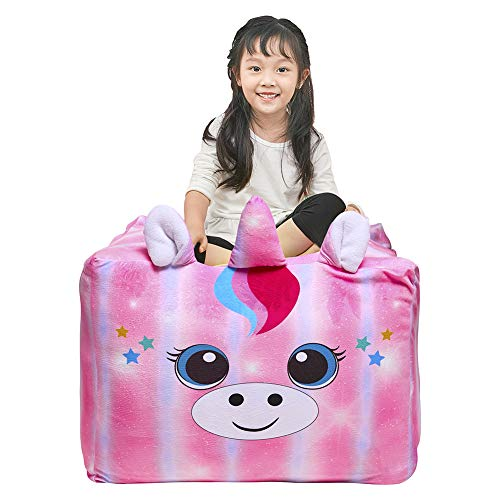 Basumee Unicorn Stuffed Animal Storage Bean Bag Chair Cover 61x61 cm Large Super Soft Warm Fleece Unicorn Beanbag Cover, Pink Blue