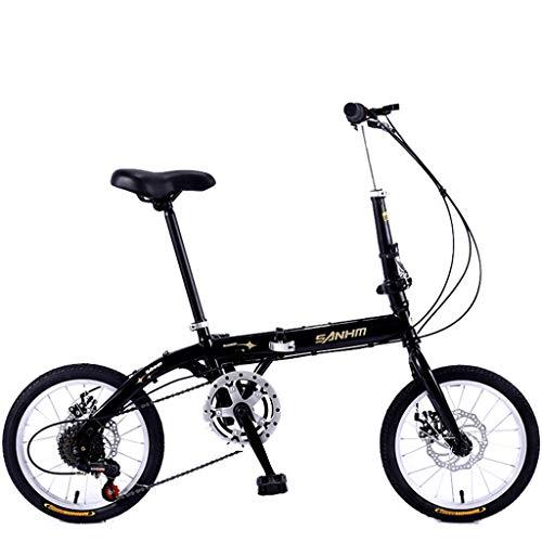 Tuuertge Bicicleta Plegable Mini Bicicleta Plegable de 16 Pulgadas de Velocidad Variable Hombres Mujeres Adultos Estudiantes Niños al Aire Libre Deporte de la Bici
