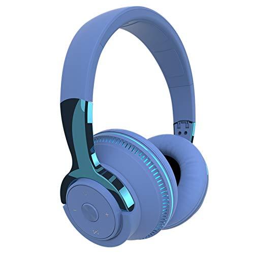Heroicn Auriculares Bluetooth estéreo Plegables sobre la Oreja Auriculares inalámbricos 24 Horas de reproducción para el Trabajo/TV/computadora/teléfono Celular (Color : Blue)