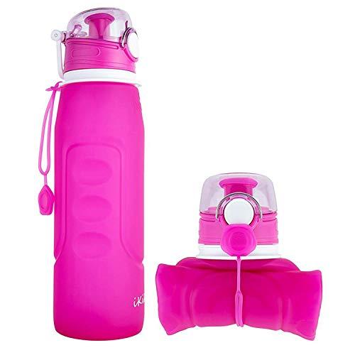 iKiKin Bottiglia d'Acqua Pieghevole1000ml, Senza BPA, A Prova di Perdita, Bottiglia per l'Acqua in Silicone Pieghevole e Portatile per Lo Sport, Attivitá all'Aperto, Campeggio (Rosa)