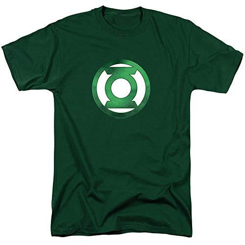 Green Lantern Green Chrome Logo Unisex Adult T-Shirt for Men and Women, Hunter Green, Large