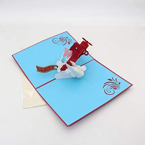 HUDETIE 3D Handgemaakte Chinese Zodiac Cartoon Vliegtuig Varken Lente Festival Paper Wenskaarten Postkaart Nieuwjaar Zegen Vriend Gift