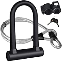 KASTEWILL Bike U Lock Heavy Duty Anti Theft, Secure Combination Bike U Lock with 16mm Shackle, 4ft Length Security Cable, Keys and Sturdy Mounting Bracket for Bicycle