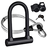 KASTEWILL Bike U Lock Heavy Duty Anti Theft, Secure Combination Bike U Lock with 16mm Shackle, 4ft Length Security Cable, Keys and Sturdy Mounting Bracket for Bicycle, Motorcycle and More (Small)