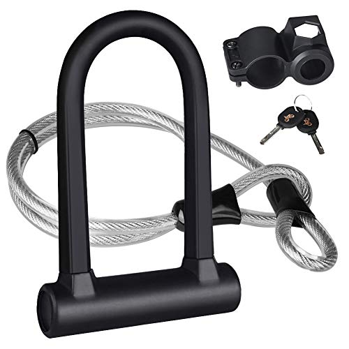 Bike U Lock,Heavy Duty Bicycle U-Lock Combination Bike U Shackle Secure Locks with 16mm Shackle 4ft Length Security Cable and Sturdy Mounting Bracket for Bicycle,Motorcycle and More