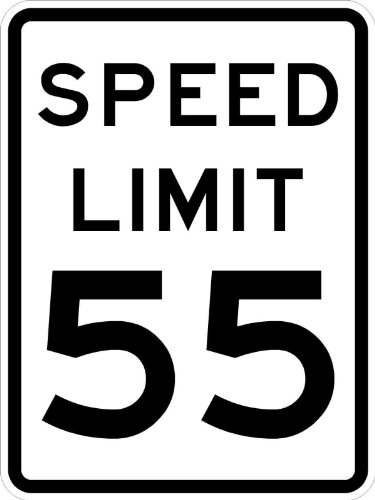 Speed Limit 55 Sign - 24 x 30. A Real Sign. 10 Year 3M Warranty