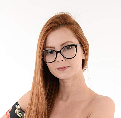 Oculos Grau Feminino La Belle Gatinho Oval Preto Dourado