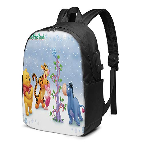 Fashion Leisure Backpack for Girls and Boys, Large Laptop Backpack, Waterproof Business Carry On Backpack for Men and Women, Water Bottle Pockets Daypack,Disney Winnie Pooh Eeyore Christmas Tree
