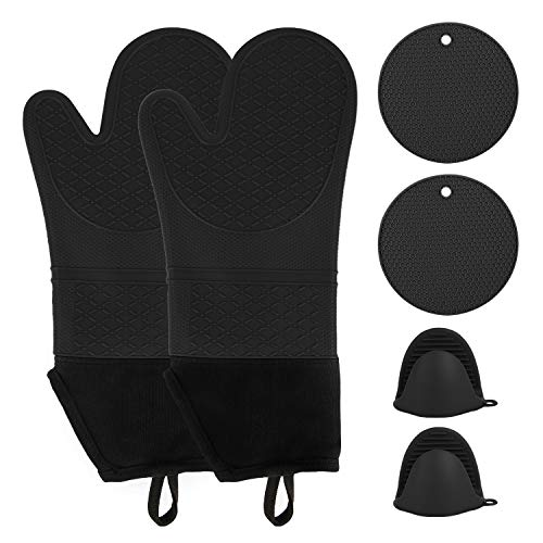 wellvo 6 Pack Extra Long Oven Mitts and Pot Holders Set 500℉ Heat Resistant Food Grade Silicone Non-Slip Gloves Potholders Pads for Cooking Baking BBQ(Black)