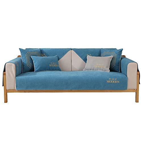YUTJK Cojín de sofá Moderno Bordado,Funda De Sofá para Mascotas Perro,Composable Antideslizante Resistente Anti-Suciedad Sofá Cubierta,para Verano,Azul